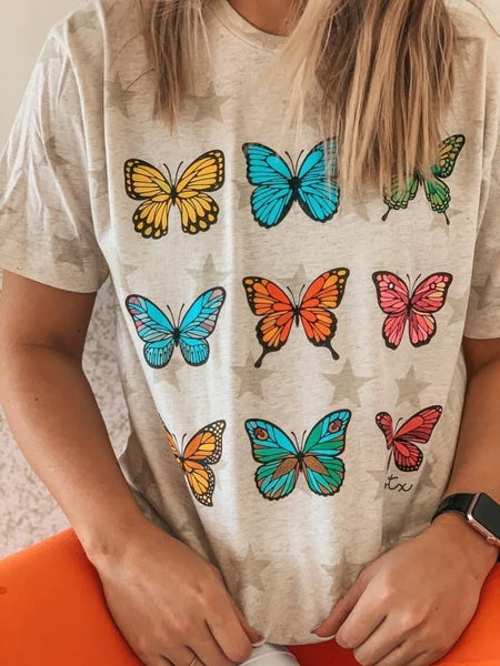Colorful Butterflys Graphic Tee For Women