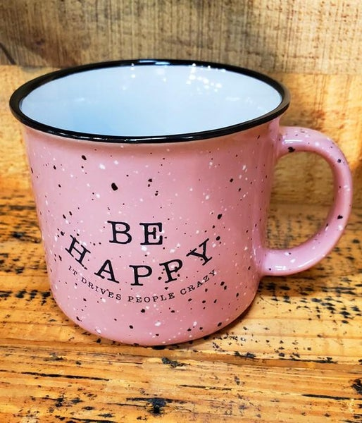 Be Happy Speckled Pink Mug