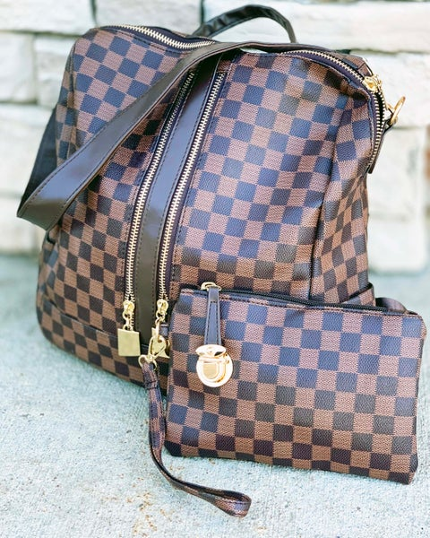 Luxury Brown Checkered Convertible Backpack & Wristlet