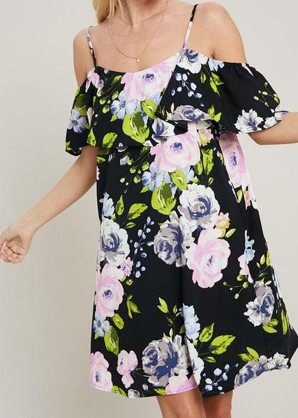Black Floral Cold Shoulder Dress For Women *Final Sale*