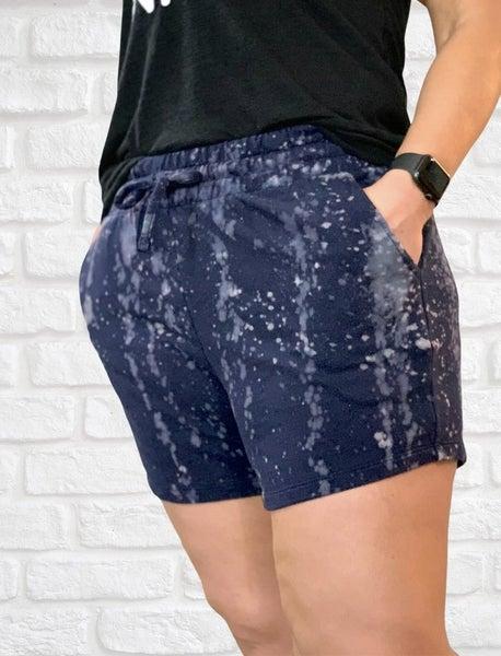 Navy Bleach Splatter Shorts For Women
