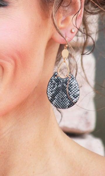 Round Snake Print Earrings