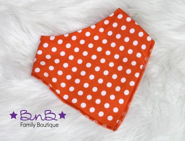 Orange / White Polka Dot Bandana Bib
