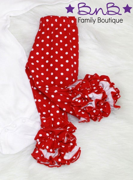 Red & White Polka Dot Ruffle Leggings For Girls *Final Sale*