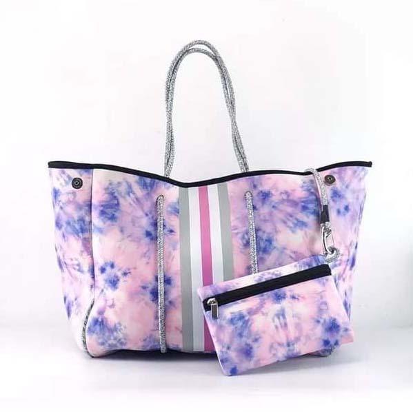 Cotton Candy Tie Dye Neoprene Tote Bag
