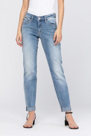 Judy Blue Mid Rise Raw Cuffed Boyfriend Jeans