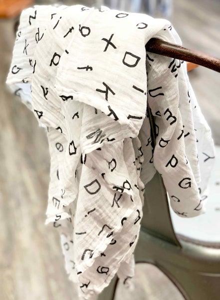Alphabet Muslin Baby Blanket *Final Sale*