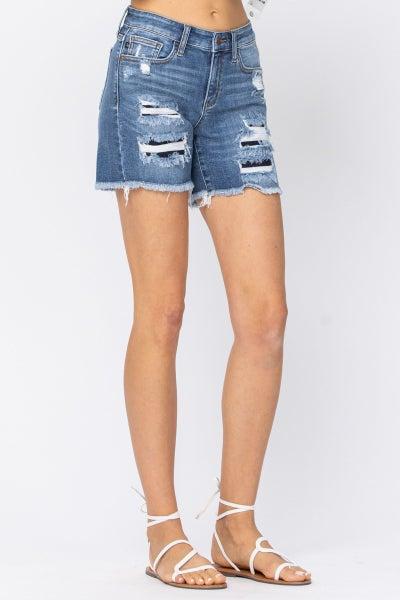 Judy Blue Medium Blue Patch Cut Off Shorts