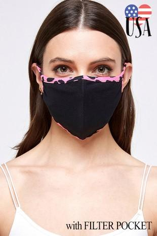 Neon Pink Animal Print Facial Protector With Filter Pocket For Adults