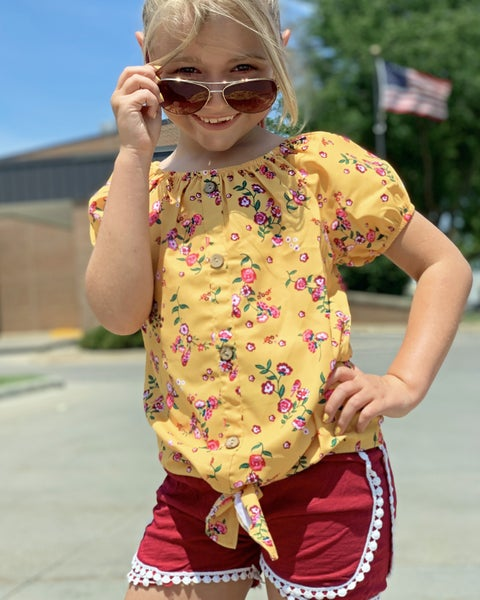 Mustard Floral Top For Girls