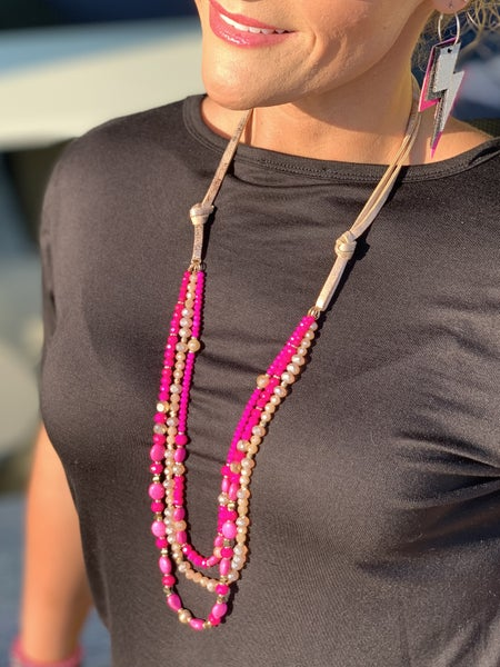 Pretty In Pink Layered Necklace *Final Sale*