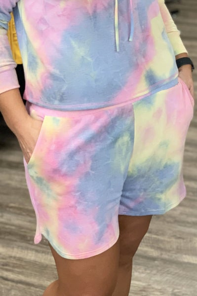 Pink Tie Dye Loungewear Shorts For Women *Final Sale*