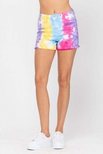 Judy Blue Snow Cone Tie Dye Cut Off Shorts For Women