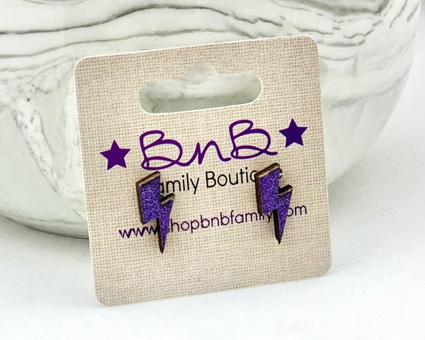 Purple Glitter Lightning Bolt Stud Earrings *Final Sale*
