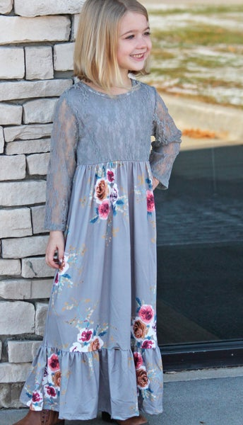 Gray Floral Lace Maxi Dress - Girls *Final Sale*