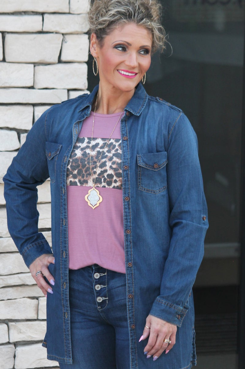 Denim Chambray Button Up For Women