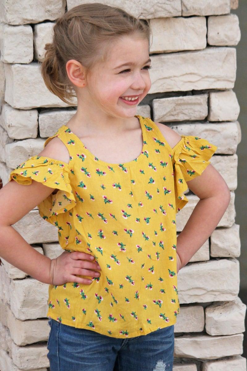 Girls Yellow Floral Cold Shoulder *Final Sale*