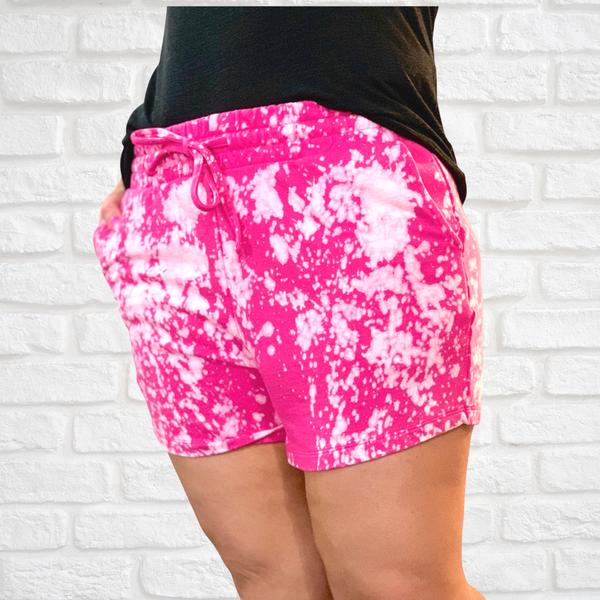 Hot Pink Bleach Splatter Shorts For Women