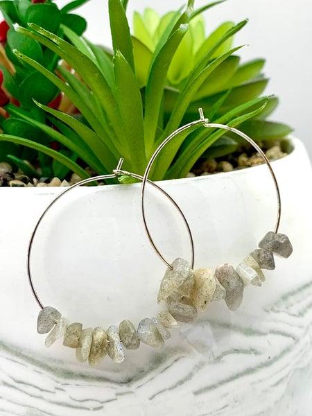Stone Gray Natural Gem Stone Hoop Earrings *Final Sale*