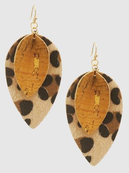Animal Print Pinched Petal Earrings *Final Sale*