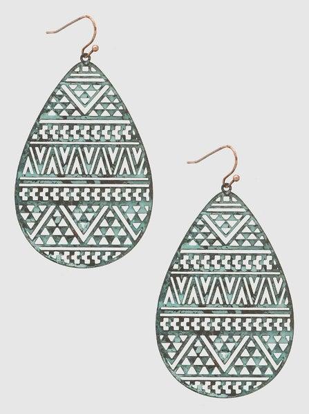 Patina Aztec Teardrop Earrings *Final Sale*