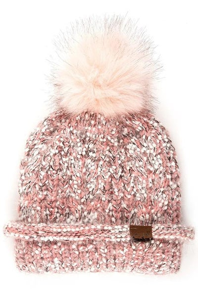 C.C. Rose Popcorn Knit Fur Pom Beanie For Women