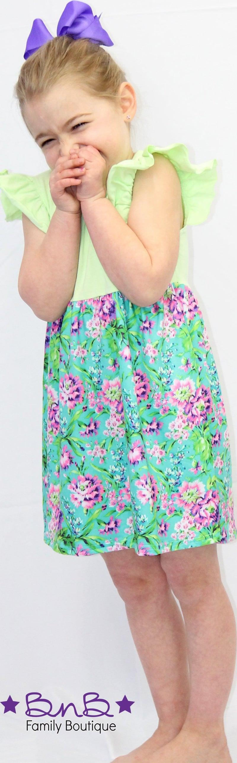 Purple Floral Flutter Dress *Final Sale*