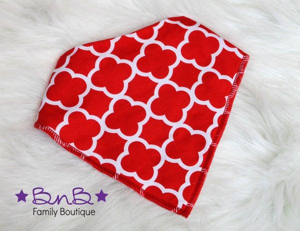 Red Quatrefoil Bandana Bib
