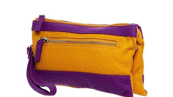 Purple & Mustard Gameday Wristlet Crossbody For Women