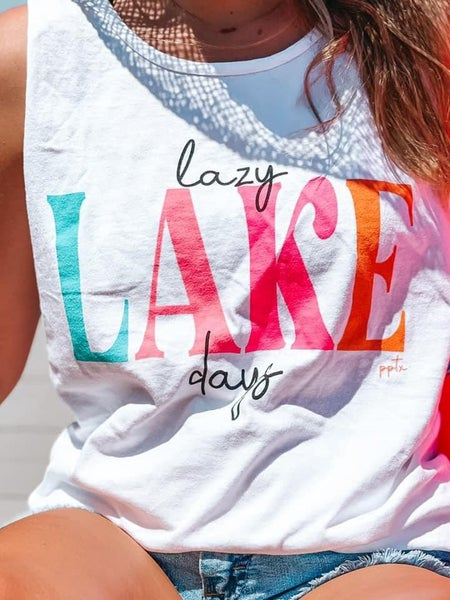 Lazy Lake Days Graphic Tank For Women