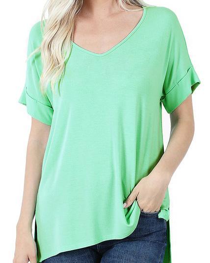 Green Mint Short Sleeve Top For Women