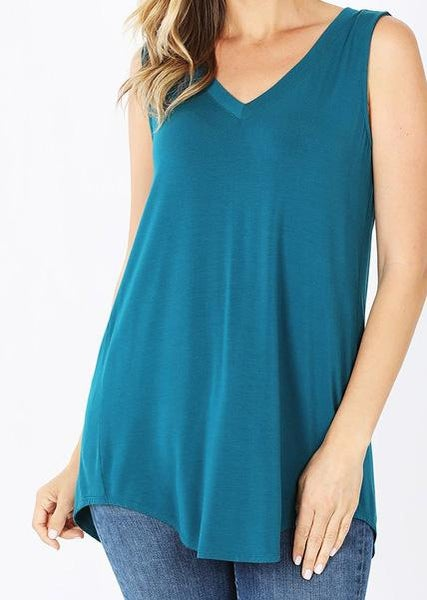 Teal V-Neck Tank For Women
