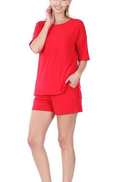 Ruby Red Loungewear Set For Women