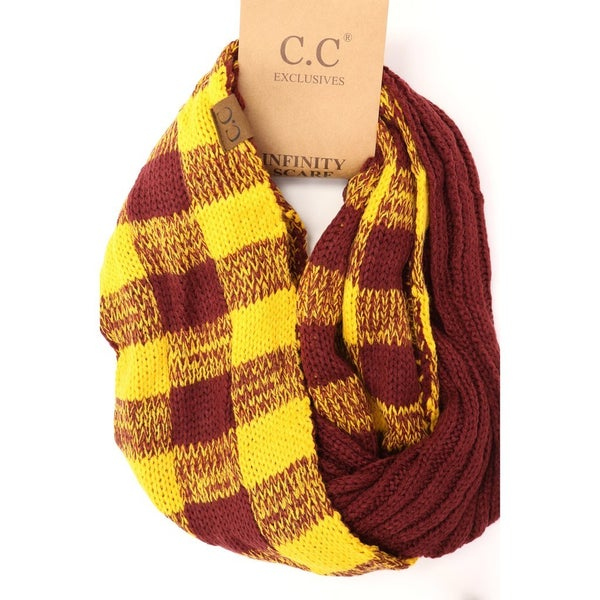 C.C. Maroon & Gold Infinity Scarf For Adults *Final Sale*