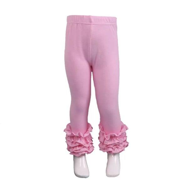 Light Pink Ruffle Legging For Girls