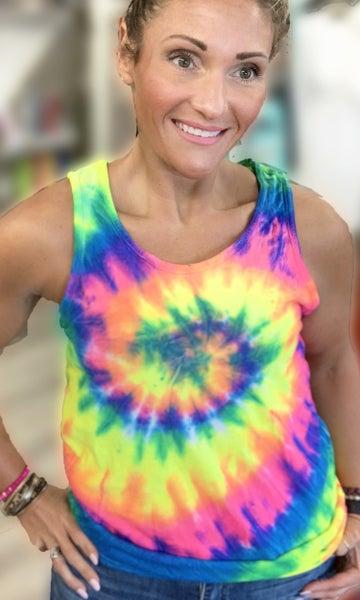 Bright Spiral Tie Dye Tank Top For Women