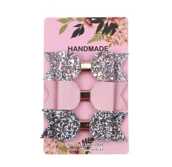 Light Multi Glitter / Light Pink / Multi Glitter Leather Bow Clips 3pk