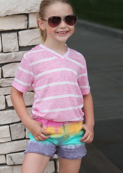 Pink Heather Stripe V-Neck Tee For Girls *Final Sale*