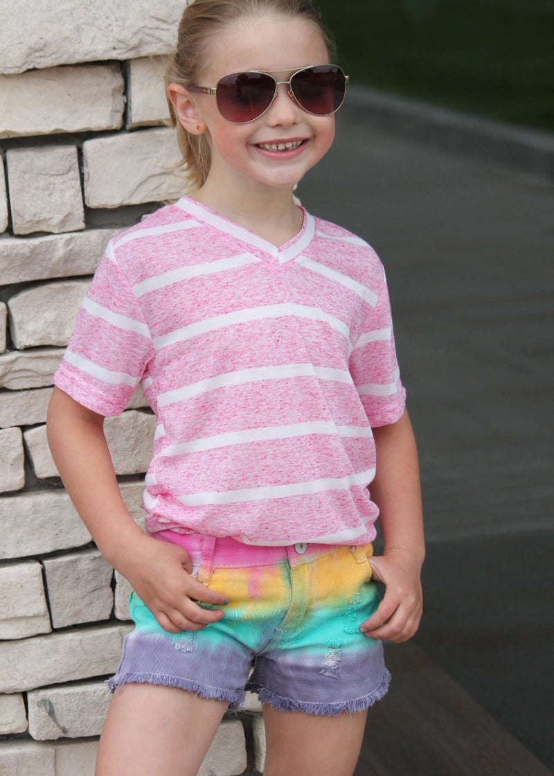 Pink Heather Stripe V-Neck Tee For Girls *Final Sale*