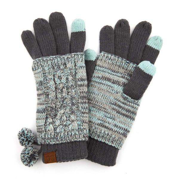 C.C. Mint Cable Knit Handsfree Gloves For Women