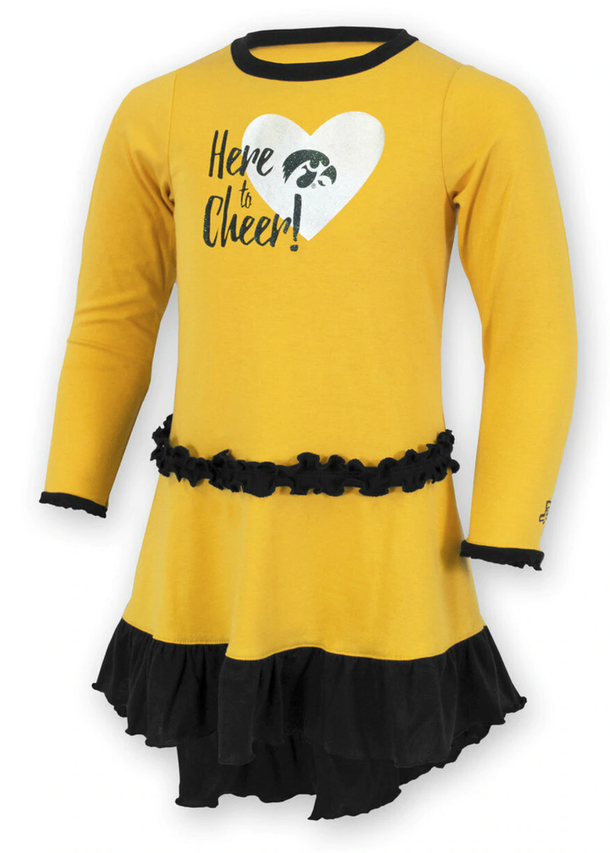 Iowa Hawkeyes Here To Cheer Dress For Girls
