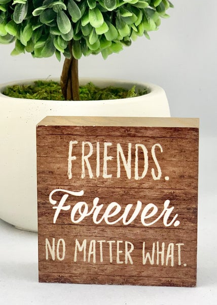 Friends Forever No Matter What Mini Wood Sign