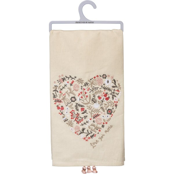 I Love You More Floral Heart Dish Towel
