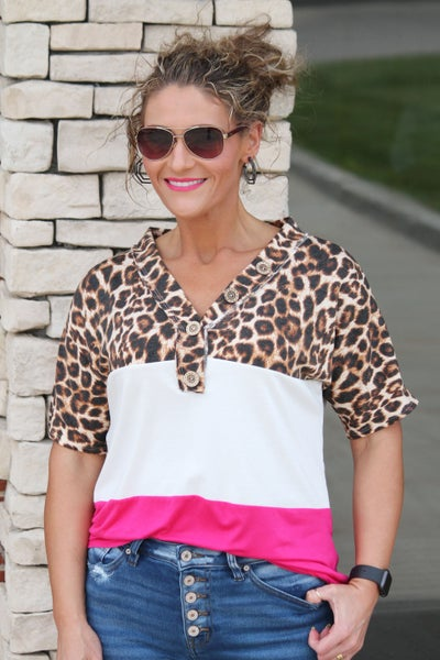 Fuchsia Leopard Button Top For Women *Final Sale*