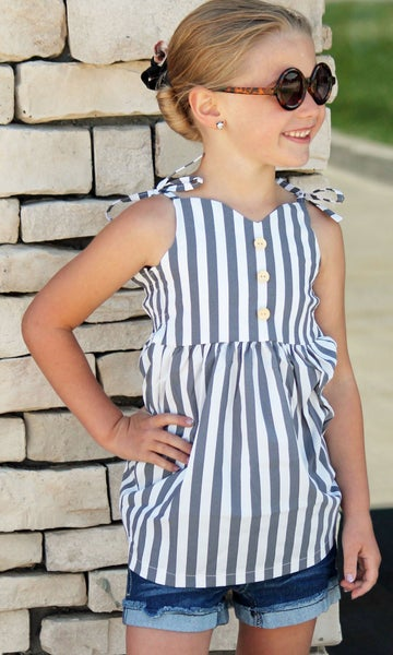 Gray & White Stripe Top For Girls *Final Sale*