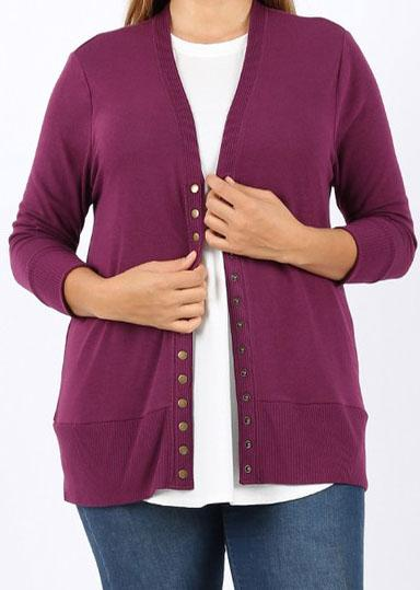 Plum Snap Cardigan For Women *Final Sale*