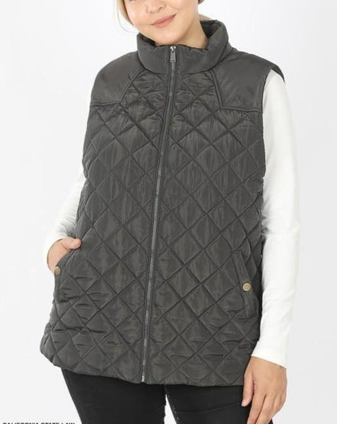 Ash Gray Quilted Vest For Women *Final Sale*