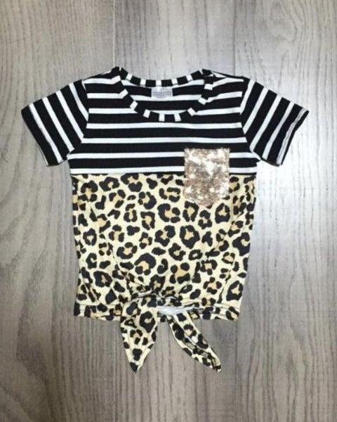 Girls Leopard Sequin Top