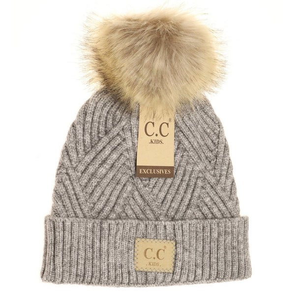 C.C. Heathered Gray Fur Pom Beanie For Girls