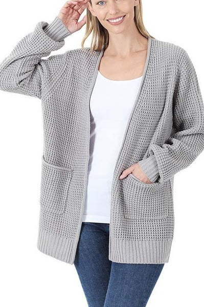 Gray Waffle Cardigan For Women